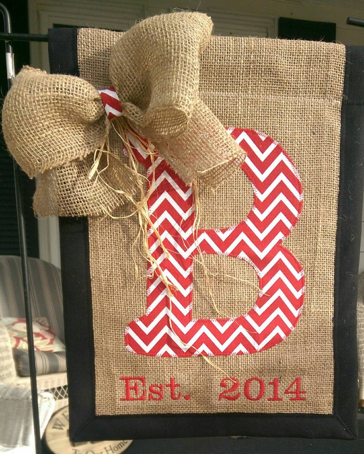 Initial Flag Burlap Garden Flag Outdoor By