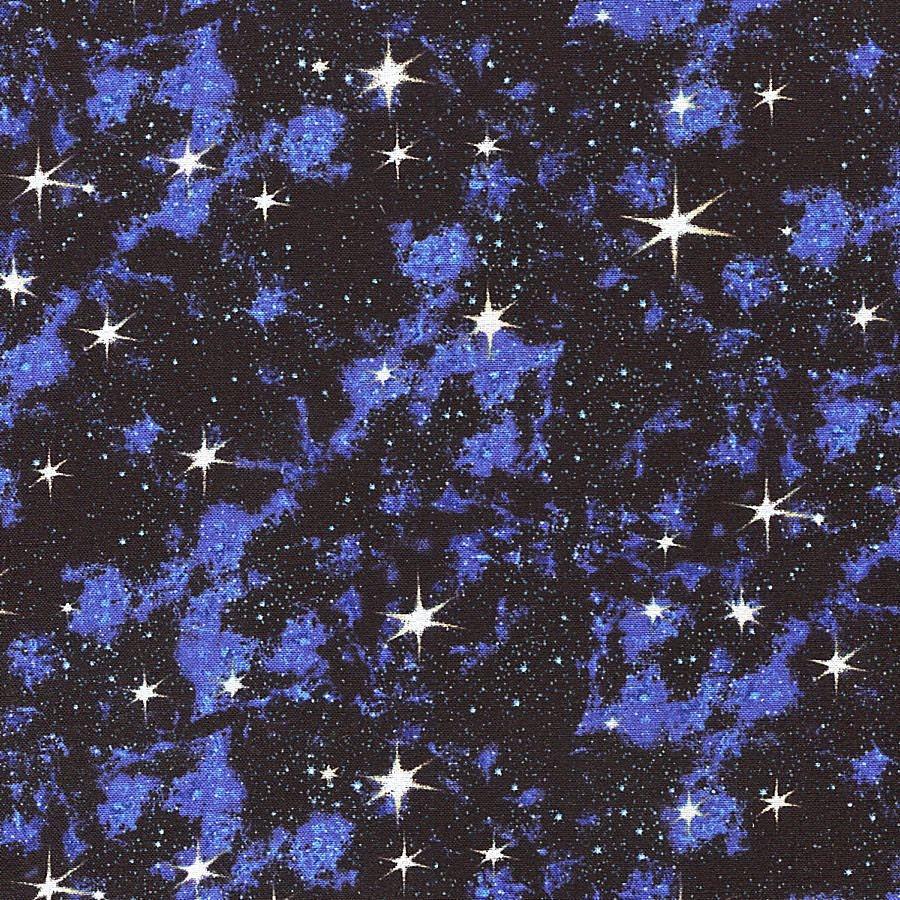Blue galaxy stars elizabeth studios half yard from for Galaxy fabric canada
