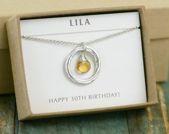 30th birthday gift, November birthstone jewelry for sisters necklace, citrine necklace, 3 best friend necklace - Lilia