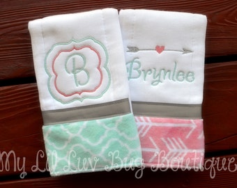 Personalized Burp cloth set - prefold diaper burp cloths - burp rags - monogrammed burp cloths - set of two - baby gifts personalized - girl