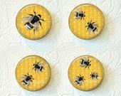 Bee Magnets, Kitchen Magnets, Magnet Set of 4, Nature Magnets 1.5 inch, Buy 3 Sets Get 1 Set Free  504M