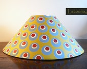 Bohemian Lampshade/ Ottoman Lampshade/Gold Grey White Red/World Traveler/Handmade Lamp/Boho Lamp/Hand Painted Lamp Shade/Large Coolie Shade