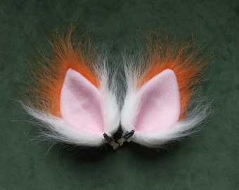 Orange and White Faux Fur Ears Fox Cat Dog Monster Halloween Cosplay