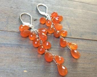 Earrings Orange Carnelian Cascade