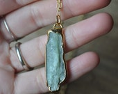 Green Kyanite Necklace - Long Green Kyanite Stone and Labradorite Necklace