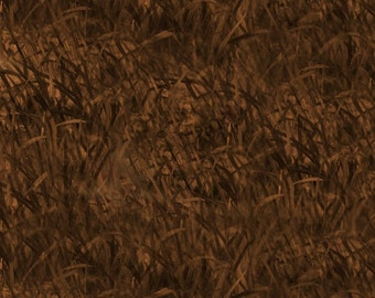 Dark Brown Wheat - Hautman Brothers Wild Pheasants from Quilting Treasures - Full or Half Yard Brown Wheat Blender