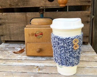Coffee Sleeve, Coffee Cozy, Knit Coffee Sleeve, Coffee Sleeve with Buttons, Blue and White Marled, Travel Mug Cozy, Cup Cozy, Cup Sleeve
