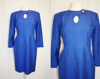 1990's Blue Dress Royal Silk Size 8 Petite Vintage Retro 80s Hipster Wiggle Office Fitted Long Sleeves