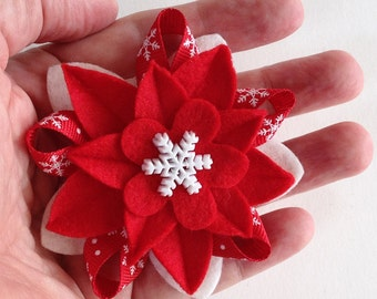 Winter Holiday Felt Brooch - Bright Red & White with Snowflake Button and Snowflake Ribbon - Christmas Boutonniere