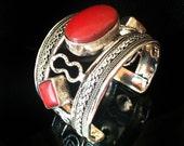 Red Coral bracelet,Nepal Cuff Bracelet,Silver Coral Cuff bracelet STATEMENT Jewelry Cuff Mens and Womens bracelet by  Taneesi