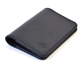 Black Leather Bi Fold Card  Wallet Handmade