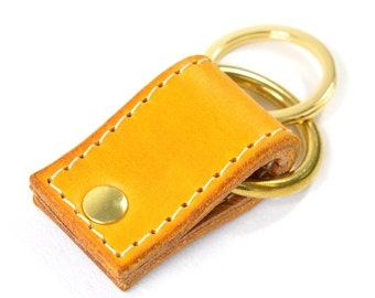Handmade Yellow Hand Dyed Leather Keychain Key Fob Keyring.