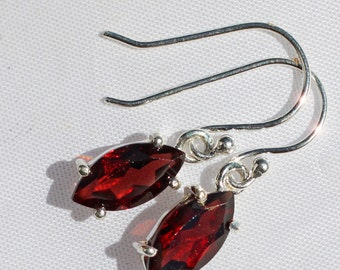 Crimson - Faceted Garnet Drop Sterling Silver Earrings