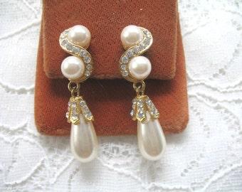 Vintage Pearl & Rhinestone Dangle Earrings ~ Clip On