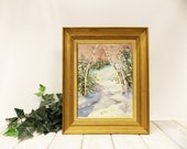 Vintage Original Oil Painting--- Impressionist Style Winter Scene--- Snow Covered Trees in a Winter Wonderland