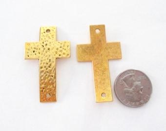 Cross Link Connector - Gold Hammered Cross Sideways - Curver Bracelet Link - Two Holed - 4 Pcs - Diy Jewelry Findings - Bracelet Components