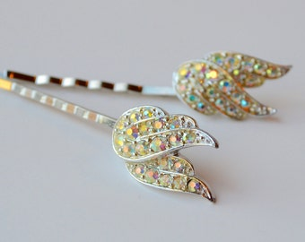 Rhinestone Bobby Pins, Vintage Wedding Hair Pins, AB Crystal Bridal Bobby Pins, Bridal Hairpins, Bridesmaid Hairpins, Vintage Bobby Pins