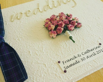 Personalized Tartan bouquet Wedding Guest Book