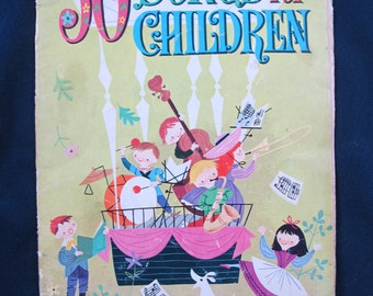 SALE //WHiTMAN 50 Songs for Children sheet music book lyrics organ piano Craft Graphics!