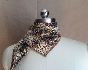 1970's vintage snakeskin print scarf / womens vintage accessory / 60's 70's / square neck scarve / bold / mod