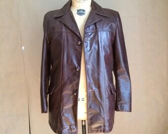 s a l e / vintage 1970's brown leather jacket / leather coat / car coat / 70's /  wide lapel / mens leather coat jacket