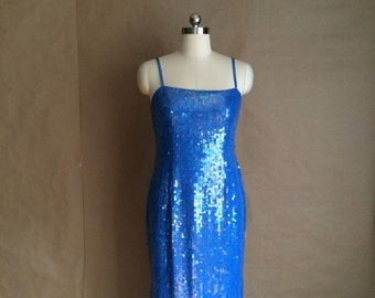 vintage 90's mermaid sparkle dress / sequin dress / full length dress / party dress / blue sequin tube dress