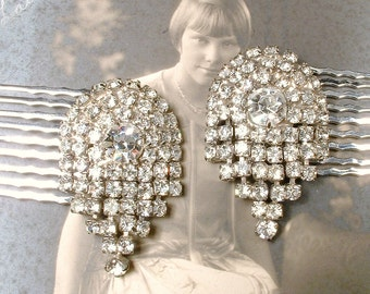 OOAK Roaring 20s Antique Rhinestone Hair Comb Pair, Bridal Silver Vintage Wedding Dress Clip Accessory Art Deco Gatsby Juliet Veil Hairpiece