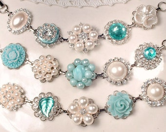 Aqua Blue & Ivory Bridesmaid Bracelet Set 3 4 5 6 7, Silver Pearl Rhinestone Bridesmaid Jewelry Vintage Wedding Earring Bracelet Powder Teal