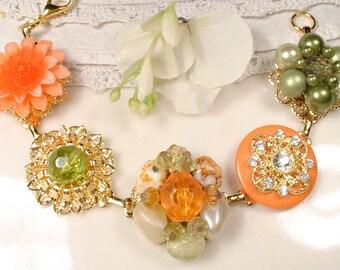 OOAK Fall Autumn Wedding Gold Vintage Earring Bracelet, Orange & Olive Greeen Bridesmaid Gift Charm Bracelet, Upcycled Earrings 1950s Retro