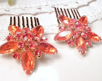 Autumn Wedding Bridal Hair Comb Pair, Vintage Orange Rhinestone Gold OOAK Hair Piece, Rustic Chic Country Orange Headpiece, Small Marquise