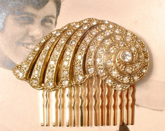 Antique Gold Art Deco/Nouveau Rhinestone Bridal Hair Comb 1930 Crystal Vintage Dress Clip Wedding Headpiece Downton Abbey Hairpiece 1 / PAIR