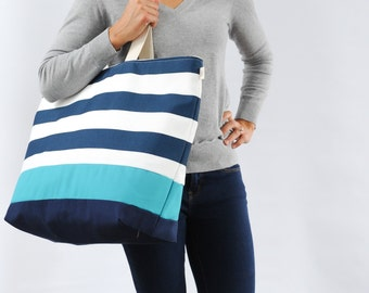 EXTRA Large Beach Bag // Tote in Navy Horizontal Stripes with Turquoise Stripe, Monogram Available