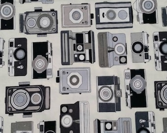 "Cosmo textile cream vintage antique cameras kinderpack ""in focus"" carrier fabric"