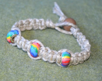 Surfer Phatty Thick Hemp Bracelet Or Anklet With Rainbow Beads