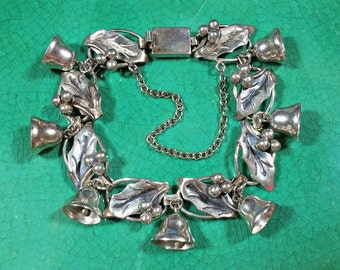 Mid Century Mexico Silver Taxco Bracelet Holly Berries Bells Hallmarked Eagle Mark 3 BJ Mex Taxco 925 Charming Collectible Just Plain Fun