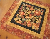 Handmade Table Toppe,r Pumpkins and Leaves Tabletop, Quilted Table Topper, Home Decor, Cabin Decor, Quilted Tabletop, Tabletop Decor