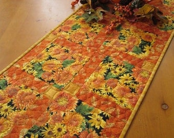Table Runner, Floral Handmade Quilted Table Runner, Autumn Colors, Home Decor