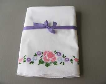 Vintage Embroidered Pillowcases, Cross Stitch
