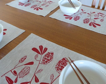 Linen Placemats Screen Printed Linen Place Mats Hand Printed Linen Table Mats Red&Natural Banksia(set of 4)