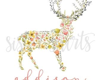 NEW Watercolor Deer Design