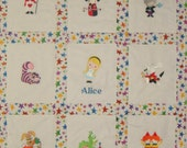 Custom order for dbeacom - Embroidered Alice in Wonderland Baby Quilt and matching Crib Skirt