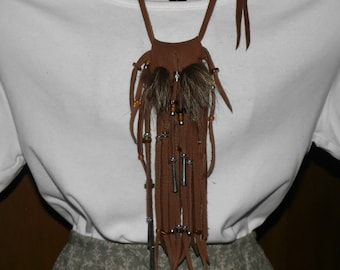 Raccoon fur and leather neck pouch medicine bag mountain man pow wow totem