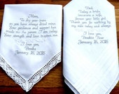 Personalized Gift Mother or Father of the Bride Handkerchief Embroidered Handkerchiefs Wedding Gift for Mom and Dad By Canyon Embroidery
