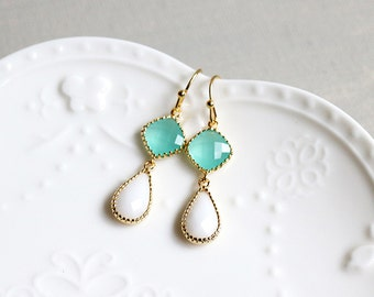Mint Drop Earrings. mint and white framed glass drop earrings. dangle earrings. bridal wedding jewelry. bridesmaid earring. everyday jewelry