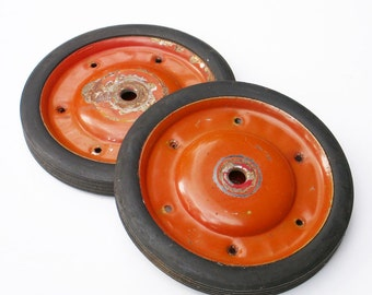 Vintage Red Wagon Wheels Set of 2 Industrial Rustic Decor