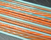 Ultra fine Tangerine and Turquoise Twistie Cane mix pack CoE 104 17pcs