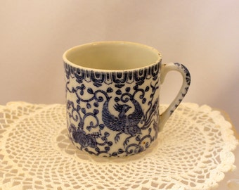 Miniature China Cup for Display or Child Blue & White Asian Design