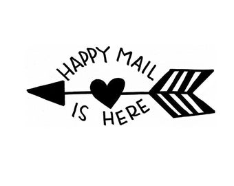Shop Exclusive - Happy Mail is Here - handlettered Wood Stamp - happy mail rubber stamp with arrow and heart