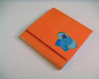 Orange Sticky Notes Pad with Turquoise Elephant