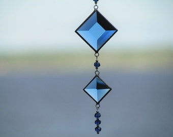 Mobile String of Blue Stained Glass Bevels and Crystal Beads Suncatcher